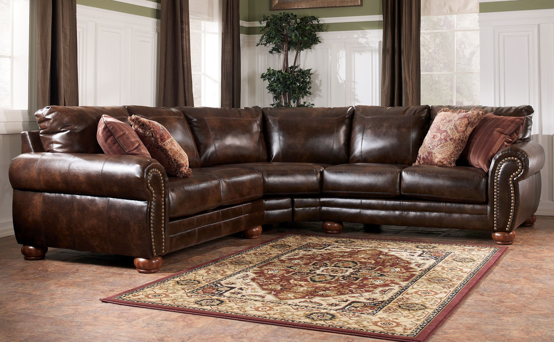 Direct a sectional ii for Ashley brown sofa chaise
